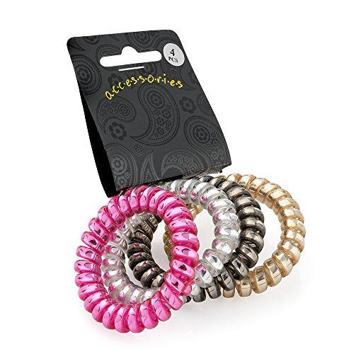Set di 4 elastici metallici per capelli a spirale