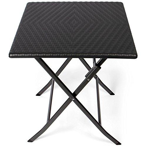 Park Alley Tavolino Pieghevole da Giardino - Robusta Struttura in Acciaio e Piano in Plastica HDPE Effetto Rattan, Forma Quadrata 61,5 x 61,5 x 73 cm - Nero