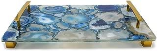 Jodhpuri Inc. 54564 Jodhpuri Decorative Blue Agate Gold Handle trays, One Size