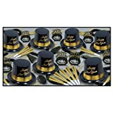 Beistle Black and Gold Legacy Assortment For 25 People New Year's Eve Party Supplies Photo Booth Props – Hats, Tiaras, Horns, Noisemakers, Necklaces