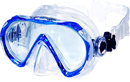 AQUAZON Beach Schnorchelbrille, Schwimmbrille, Taucherbrille für Kinder und Erwachsene, Farbe:blau Junior