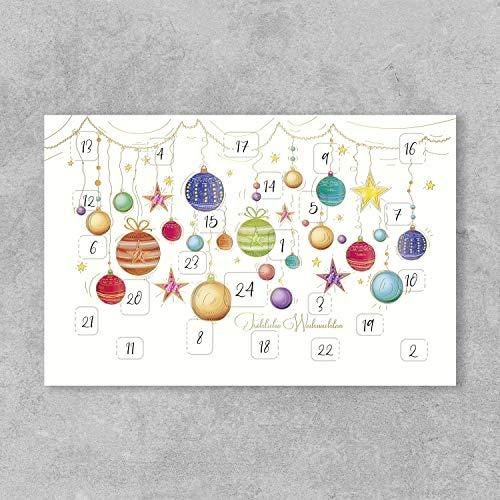 PremiumLine Weihnachtskarten Adventskalender 5 Stück inkl. Briefumschlag Weihnachtskugeln Grußkarte Klappkarte 11,5 x 17,5 cm gedruckt auf umweltfreundlichem Naturkarton