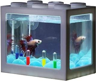 LED Aquarium Mini Fish Tank, Bettas Fish Tank Block Fish Tank Reptile Box USB Charger Office Table Decoration Ocean Micro-Landscape Box Miniature Pet Box