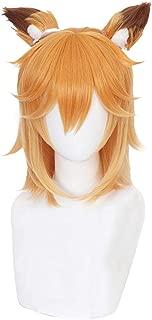 Xingwang Queen Anime Cosplay Wig Short Orange Yellow Cute Wig + Ears Women Girls' Party Wigs