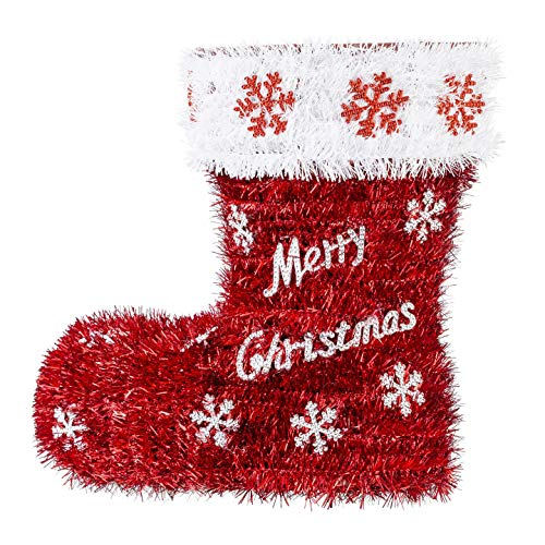 Darice Santa Boot Tinsel Shoe Basket with Merry Christmas