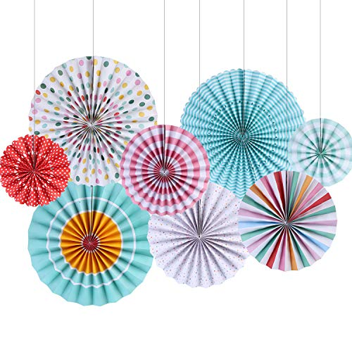 YUNXUAN Party Hanging Paper Fans Decorations Set for Wedding Easter Party Baby Girl Showers Graduation Ceiling Hangings Home Decorations Set of 8