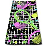 Retro Dayglo Tennis Stars Multi-Purpose Microfiber Towel Ultra Compact Super Absorbent and Fast Drying Sports Towel Travel Towel Beach Towel Perfect for Camping, Gym, Swimming.