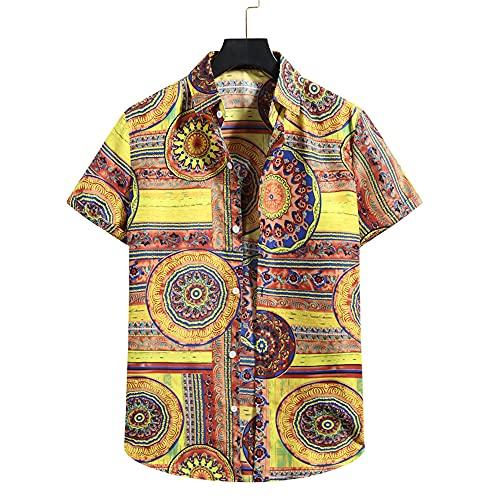 Shirt Playa Hombre Estampado Moda Verano Hombre Shirt Ocio Transpirable Cuello Kent Tapeta con Botones Manga Corta Hombre T-Shirt Tendencia Acampar Hawaii Hombre Shirt D-002 S