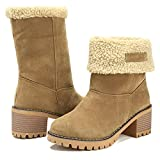 GOUPSKY Winter Snow Boots for Women Warm Suede Chunky Block Heel Round Toe Faux Fur Outdoor Mid-Calf Ankle Bootie Camel Size 9.5