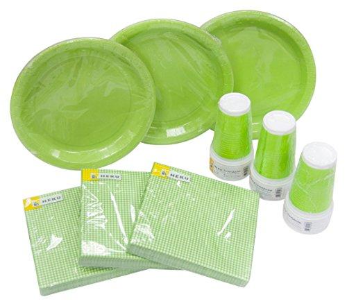 Heku 30005Set de Fiesta con Platos, Vasos y servilletas Desechables, 120Piezas, plástico, Verde, 40x29x7 cm