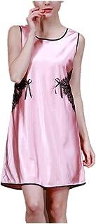7ecbebbe88cb Donna Pigiama Estivi Raso Abito da Notte Eleganti Colori Solidi Vestito da  Notte Sleeveless Fashion Rotondo