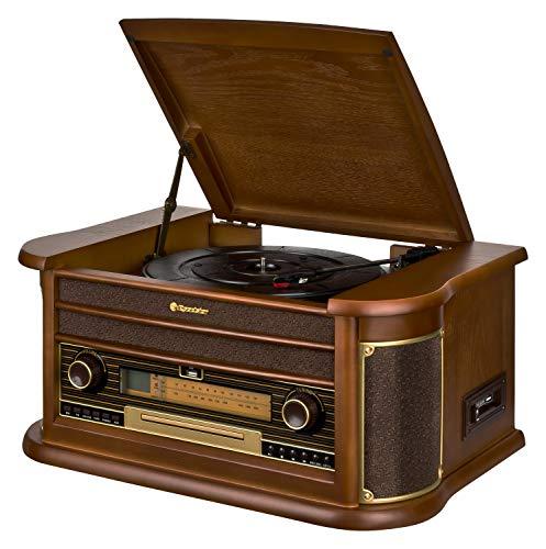 Roadstar HIF-2030 BT Retro Stereo-Anlage mit Plattenspieler, Kassette, CD-Player, Bluetooth und Radio,100 W, Braun (Holz)