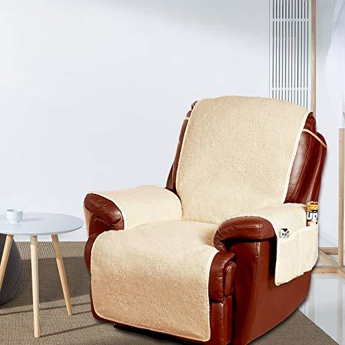 Sesselschoner Sesselauflage Sesselüberwurf Sesselbezug Sessel-Überwurf Sesselschutz Fernsehsessel Sofaschoner in Lammflor Optik mit Seitlichen Taschen 1Sitzer Sofa Schutz Abdeckung Schonbezug