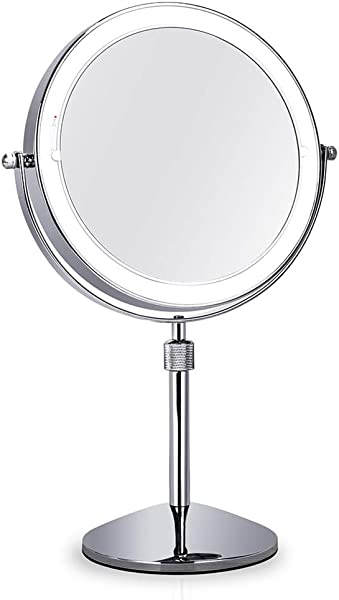 PENNY73 Lighted Makeup Mirror Desktop Mirror Double Sided 360 Swivel Adjustable Height Multiple Magnification Options