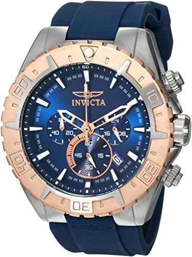 Invicta Men's 'Aviator' Quartz Stainless Steel and Silicone Casual Watch, Color:Blue (Model: 22523)