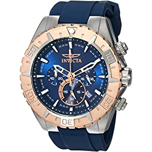 Invicta Men's Aviator Stainless Steel Japanese Automatic Watch with Silicone Strap, Blue, 26 (Model: 22523)