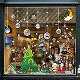 Flysee Navidad Pegatinas de Pared Calcomanías de Ventana de Copo de Nieve Pegatinas de PVC para Ventanas Vidrios Navidad Decoración Decoración de la Pared Blanco