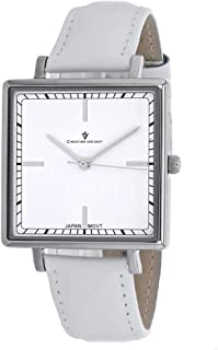 Christian Van Sant Women's Callista Stainless Steel Quartz Leather Strap, White, 18 Casual Watch (Model: CV0410)