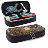 XCNGG Estuche para lápices neceser Clock-Works-Abstract-Background-Ellerslie-ArtLeather Pencil case, Waterproof, Fashionable and Durable, can be Used for Students, Schools, Offices, Colleges