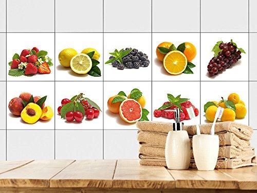 GRAZDesign Fliesenaufkleber Küche, Fliesen überkleben mit Beeren und Früchte, Fliesenspiegel Set, Küchenmotive auf weiß / 15x15cm / 10 Stück