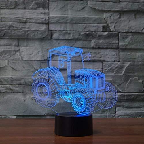 Erwa Lámpara De Tractor 3D Lámpara De Mesa LED Alimentación USB 7 Colores Increíble Ilusión Óptica 3D Grow Lámpara LED Formas Dormitorio De Niños Luz Nocturna