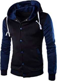 XWLY Men Jacket Hooded Long Sleeve Training Jacket Running Leisure Jacket for Running Gym Fitness Jogging Sweatshirt Outdo...