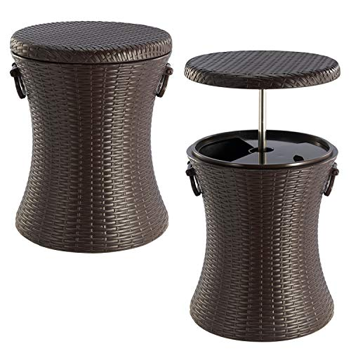 Denny Brown Rattan Style Outdoor Cool Bar Ice Cooler Table Garden Furniture by Crystals®