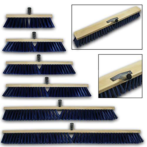 HELO 'K4' Straßenbesen Besenkopf 60 cm Breit mit Metallstielhalterung, starke PET Borsten für groben Schmutz, Bürstenkopf für außen als Industriebesen, Werkstattbesen oder Hallenbesen (ohne Stiel)