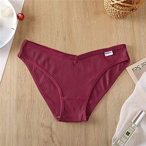 Xiaobing Bragas de algodón para Mujer Moda Cintura en V Cintura Baja Ropa Interior para Mujer Bragas para niñas -1 Rojo Vino-L
