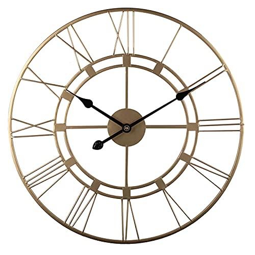 Reloj de Pared Vintage con números Romanos, Reloj de Pared de 16 Pulgadas, Redondo, Europeo, Retro, de Hierro, silencioso, Reloj de Pared para la decoración del hogar de la Granja, Oro