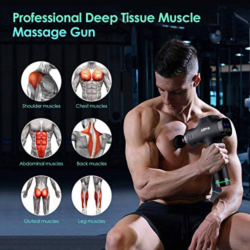 Massage Gun Deep Tissue Percussion Muscle Massager for Pain Relief,Handheld Electric Body Massager Sports Drill Portable Super Quiet Brushless Motor, 20Speeds Percussion Massage X3Pro(Black)