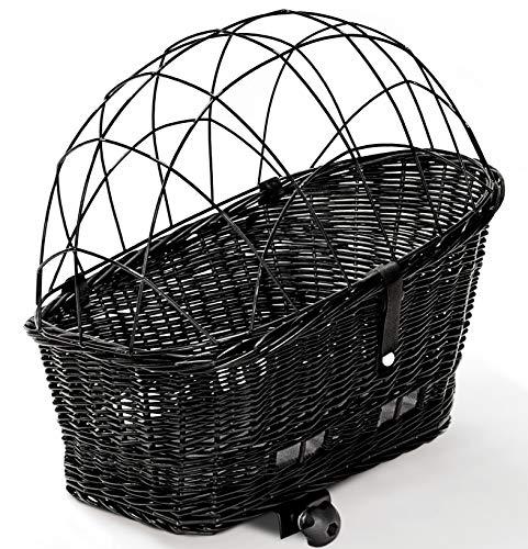 Tigana - Hundefahrradkorb für Gepäckträger aus Weide 60 x 39 cm mit Metallgitter Kissen Holzstück Tierkorb Hundekorb für Fahrrad - SCHWARZ (S-S-H)