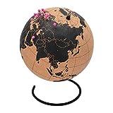 TravelMarker - Globo terráqueo de Corcho Extragrande con Pins para Atar el Viaje, Ideal para Regalar, Color marrón y Negro, 25 cm de diámetro, Corcho para marcar