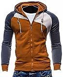 Homme Manches Longues Sweats À Capuche Encapuchonné Sweatshirt Fermeture Éclair Manteau Blouson Veste Hip Hop Vêtement Hoodies Tops Marron EU XL