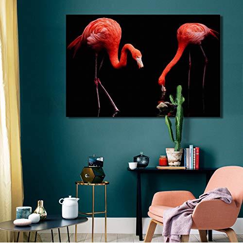 YuanMinglu Moderne Wandplakate und Drucke Ölgemälde Tiermalerei Liebe Vogelliebhaber Wohnzimmer dekorative Malerei Rahmenlos 60X90cm