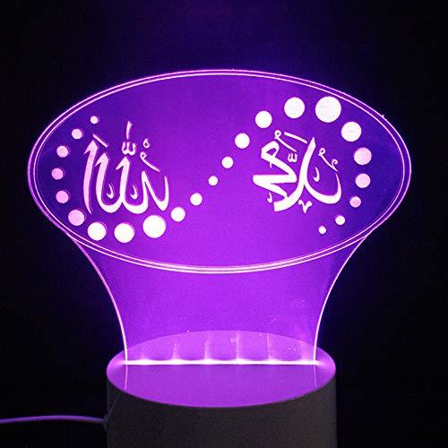 Lámpara de mesa 3D LED Islam dios bendiga luz de noche iluminación USB regalo de vacaciones