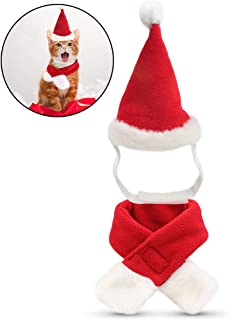 FunPa Pet Christmas Costumes Christmas Pet Hat Cute Pet Santa Hat Dog Costume Hat with Scarf for Kitten Puppy for Xmas Party New Year Festive Holiday Party Supplies