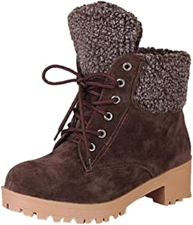 HAALIFE◕‿Woman Snow Boots Women Shoes Ladies Thick Fur Ankle Slip-On Boots Women High Heel Platform Rubber Shoes