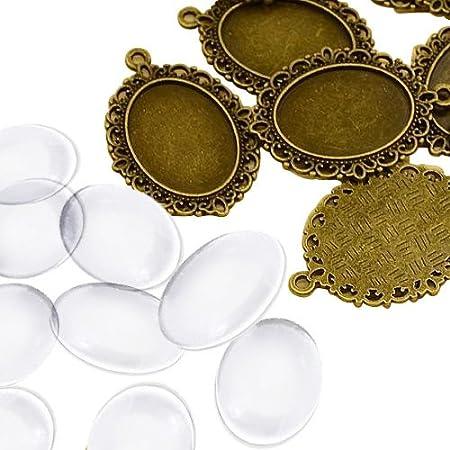 PandaHall 10 Set Basi Ciondoli Pendente Fai da Te, Basi Cabochon Stile Tibetano e Cabochon Vetro Trasparente Ovale, Bronzo Antico, 18x25x5.4mm, 39x28x2mm, Foro: 2mm
