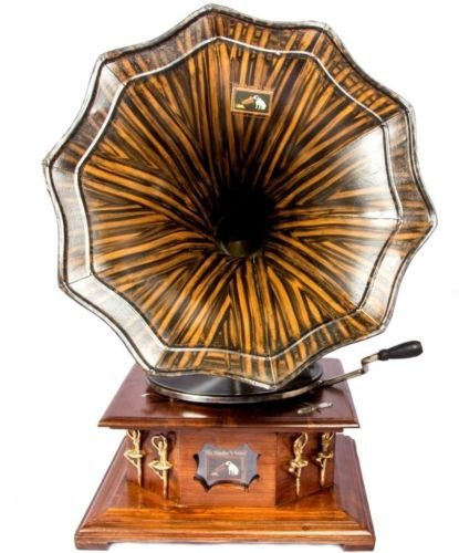 Sale!! Global Art World Original Machine England Brass Horn Gramophone 1920 Hmv Phonograph A1BG 07