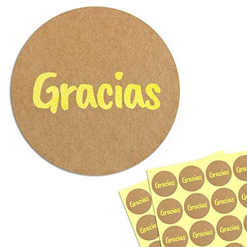 4cm Oro Kraft Gracias Circulo Pegatinas Adhesivos
