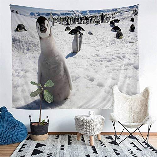 GUDOJK Tapisserie Von Einrichtungsgegenständen Antarktis Pinguin Tapisserie Wandbehang Strand Picknick Werfen Zelt Isomatte 130cmx150cm