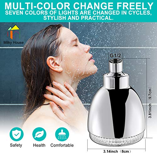 LED Shower Head, 7 Color Flash Light Automatically Changing LED Fixed ShowerHead for Bathroom Upgraded Adjustable Luxury Chrome High Pressure Flow Rain ShowerHead for Kids Adult Tool-Free Installation