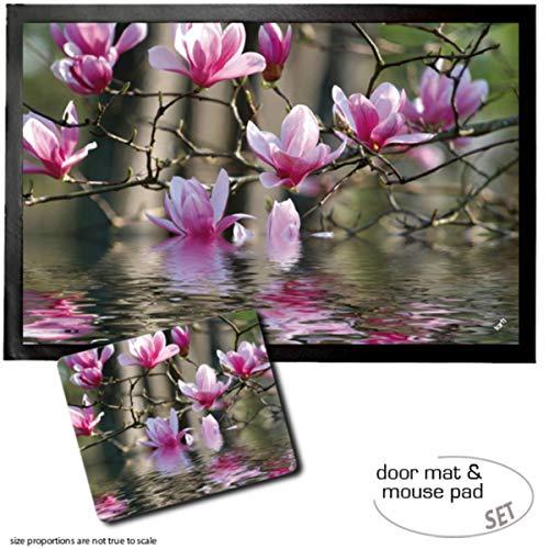 1art1 Fleurs, Fleurs De Magnolias Qui Se Reflètent dans l'eau Paillasson Essuie-Pieds (60x40 cm) + Tapis De Souris (23x19 cm) Set Cadeau