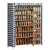 Zapatero 7 Niveles de zapatos Estante doble fila de almacenamiento en rack de zapatos con prueba de polvo cubierta y el marco de madera for dormitorio Corredor Inicio aplicable Organizador Zapatos