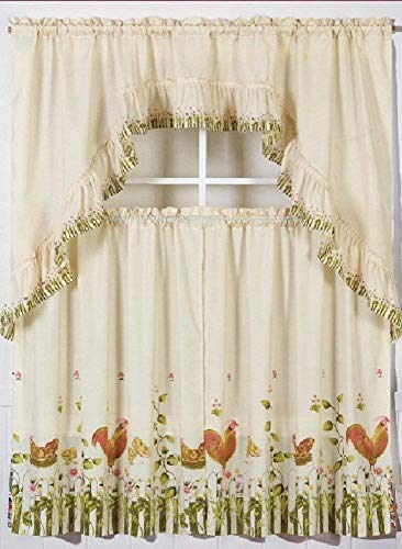 California 2013 --3 Piece Kitchen Curtain Set: 2 Tiers and 1 Valance (Rooster)
