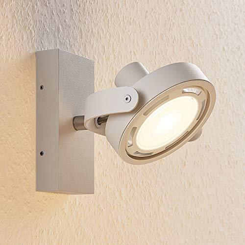 Lampenwelt LED Deckenlampe 'Munin' (Modern) in Weiß aus Aluminium u.a. für Wohnzimmer & Esszimmer (1 flammig, GU10, A+, inkl. Leuchtmittel) - Deckenleuchte, Wandleuchte, Strahler, Spot, Lampe