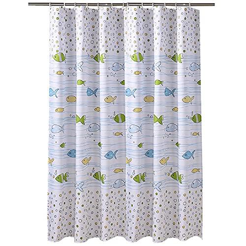 Wasserdicht Duschvorhang 180x200cm Fisch Antischimmel Polyester Duschvorhänge Textil Waschbar,Schwer Saum Shower Curtains mit 12 Plastik Duschvorhangringe für Badewanne & Bathroom