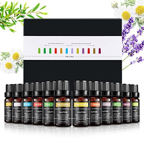 WOSTOO Aceites Esenciales,12x10ml Aromaterapia Aceite de Fragancia 100% Natural Pura Aceites Set (Lavanda, árbol de té, menta, naranja dulce, limón)Aceites de Aromaterapia para Difusor y Humidificador