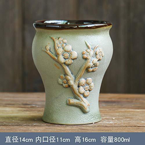 Bloempot met groene gewaad glazuur Succulente bloempot keramische duim pot creatief steengoed retro trompet oude stapel vlees pot Pruim Bloesem